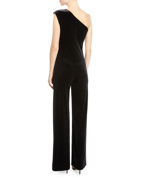 bde221c8b894 Norma Kamali One-Shoulder Velvet Jumpsuit