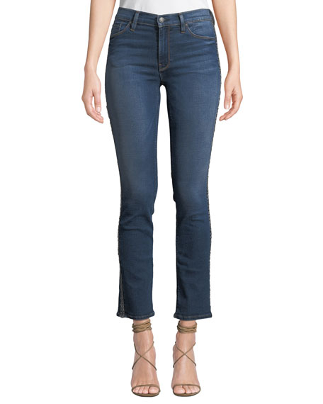 Hudson NICO MID-RISE CIGARETTE JEANS WITH METALLIC STRIPES
