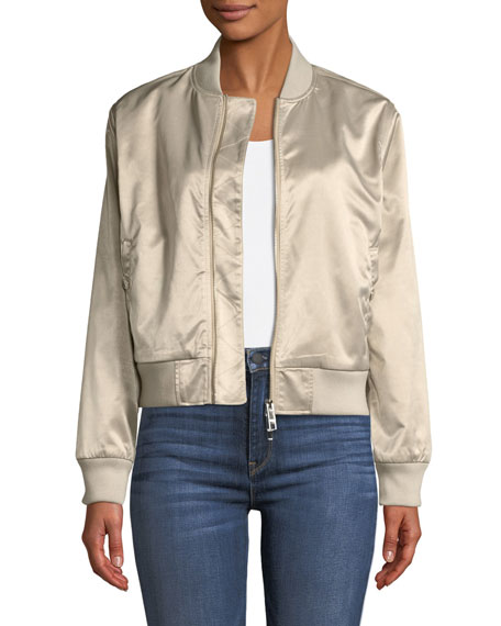 Hudson Sateen Zip-Front Bomber Jacket, CHAMPAGNE