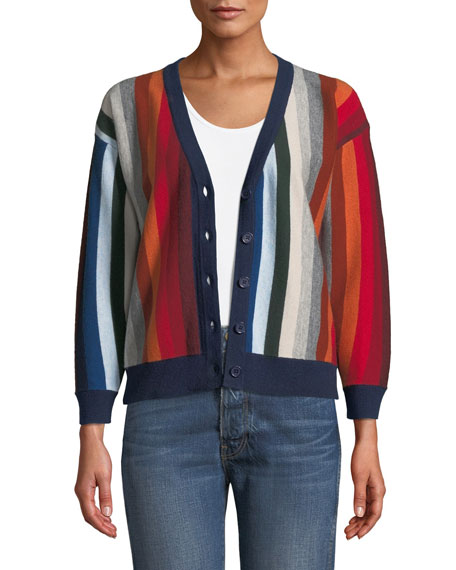 The Co-Ed Striped Wool-Blend Cardigan in Multi Stripe