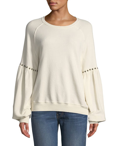 The Bishop-Sleeve Sweatshirt with Studded Trim