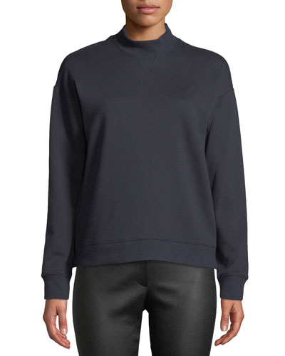 Mock-Neck Cotton Pullover Sweatshirt
