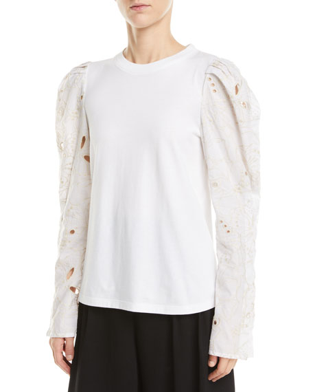 See by Chloe Lace-Sleeve Cotton Top