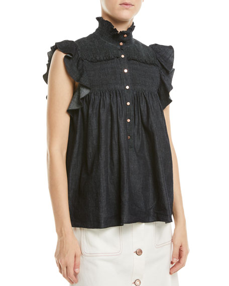 See by Chloe Smocked Chambray Flutter-Sleeve Blouse