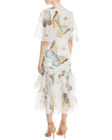 0a582558c4 Long Butterfly-Print Cape-Effect Dress