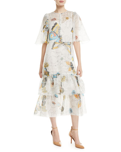 2a542c9f442 Long Butterfly-Print Cape-Effect Dress Quick Look. See by Chloe