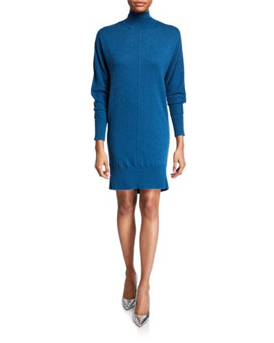 Kamela Dolman-Sleeve Turtleneck Sweater Dress