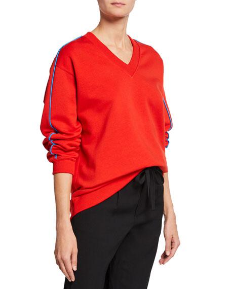 Kenzo Oversized V-Neck Logo Pullover Sweatshirt