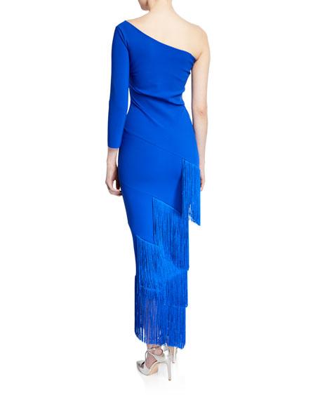 Pippi One-Shoulder Asymmetric Fringe-Trim Dress