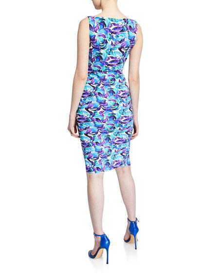 Gota Printed Surplus Dress with Asymmetric Flounce