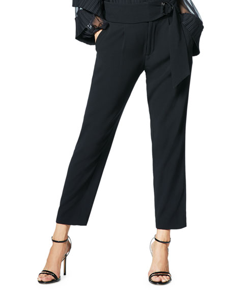 Ramy Brook Pants HUDSON BELTED STRAIGHT-LEG PANTS