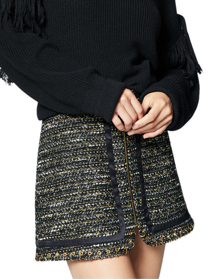 Image 1 of 1: Rhonda Tweed Zip-Front Mini Skirt