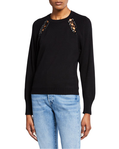 Georgia Lace-Up Cutout Pullover Sweater