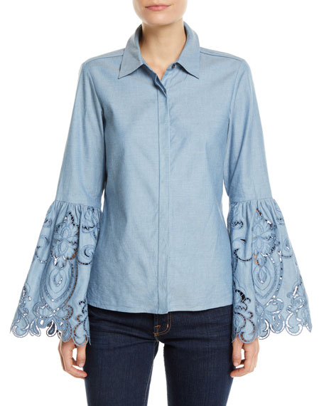 Ramy Brook Holden Embroidered Bell-Sleeve Top