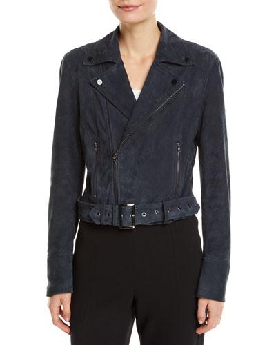 Ramsay Suede Zip-Front Moto Jacket