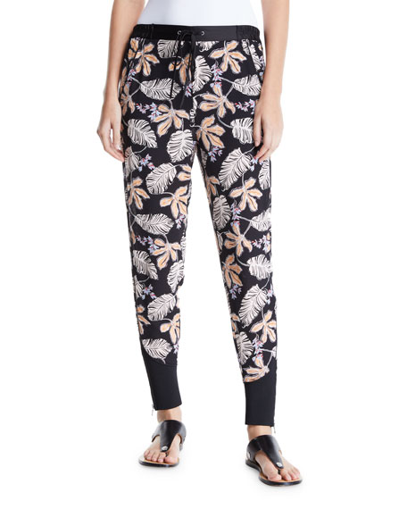 Floral Leaf Crepe Jogger Pants with Piping