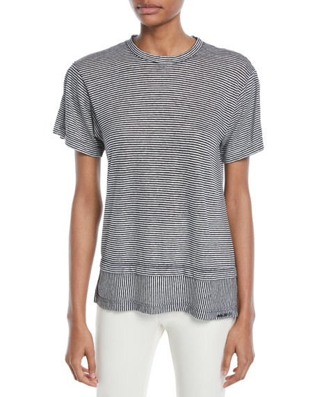 Derek Lam 10 Crosby Striped Crewneck Layered Linen-Cotton