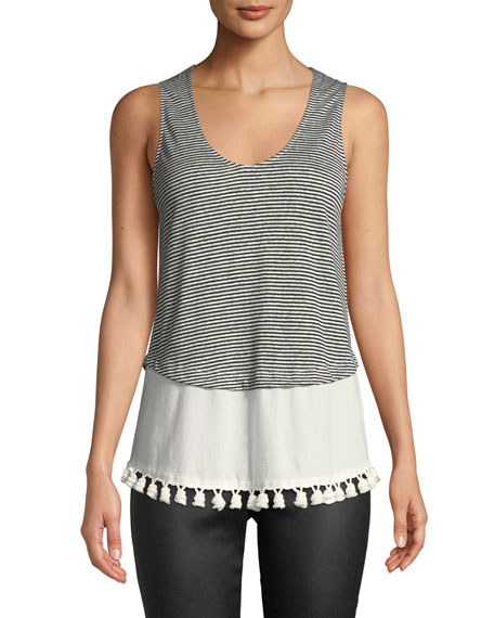 Derek Lam 10 Crosby Tiered Scoop-Neck Tank w/