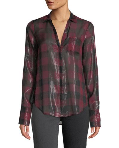 Bevyn Metallic Plaid Button-Front Shirt
