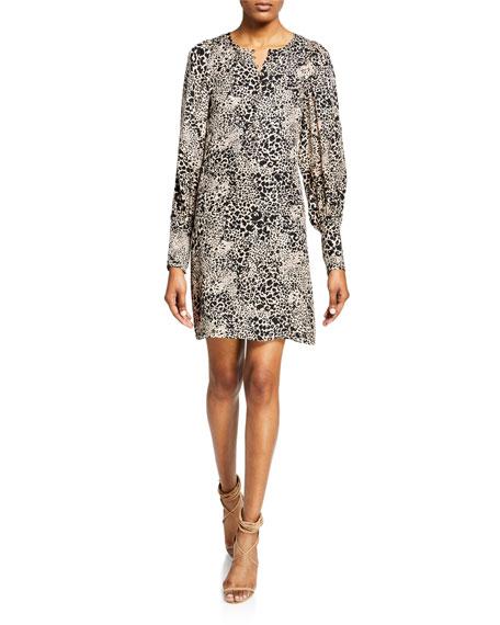 Leopard-Print Silk Button-Front Short Dress