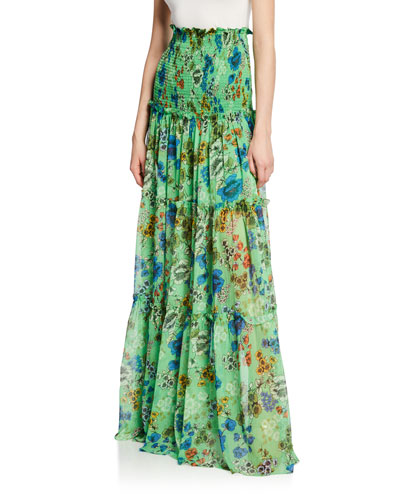 Roshan Floral Smocked High-Rise Maxi Skirt