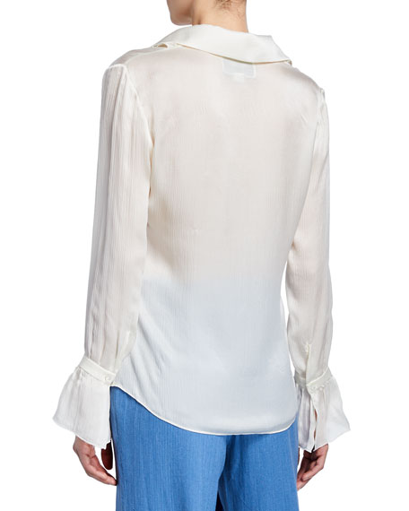 d7d0433673100 Alexis Attis Long-Sleeve Silk Ruffle Top