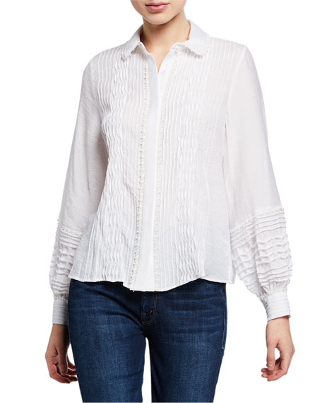 Alexis Greyson Smocked Long-Sleeve Button-Up Top