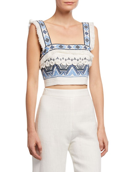 Alexis Liddy Embroidered Fringe Crop Top