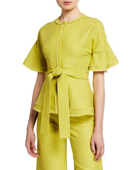 Alexis Joni Linen Short-Sleeve Top