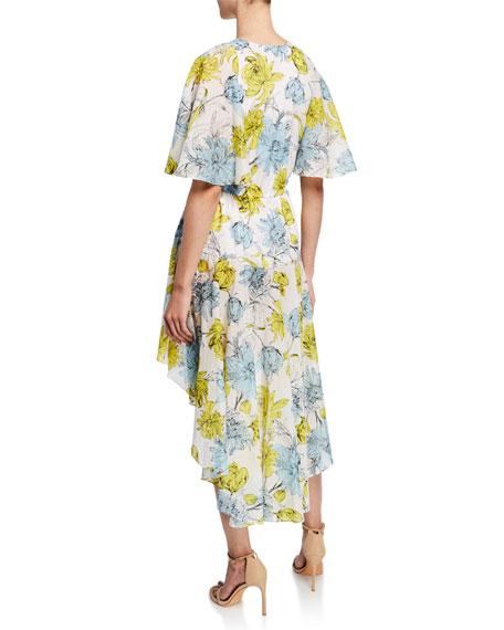 Idella Floral-Print V-Neck Short-Sleeve High-Low Dress