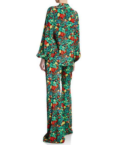 Minu Plunging Floral-Print Blouson-Sleeve Top