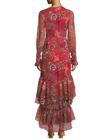 Solace Tiered Floral Wrap Flounce Dress