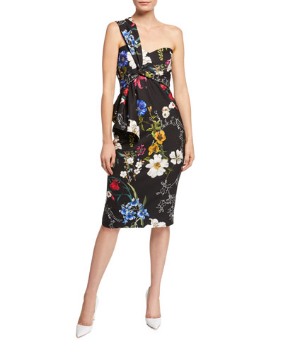 Kysha One-Shoulder Floral-Print Stretch Crepe Cocktail Dress w/ Flounce Detail