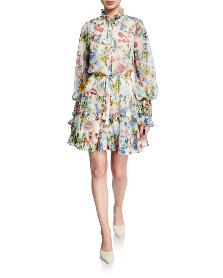 Alexis Jaila Floral Button-Up Ruffle Long-Sleeve Dress