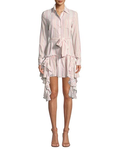 Mendes Striped Ruffle Cotton Shirt Dress