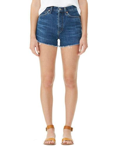 Kristen High-Rise Frayed Denim Shorts