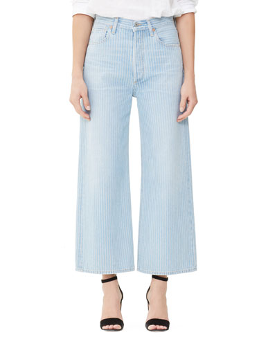 Sacha High-Rise Striped Wide-Leg Jeans