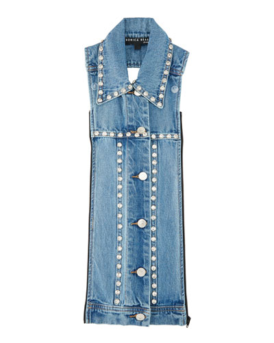 Slate Rhinestone Button-Front Denim Dickey