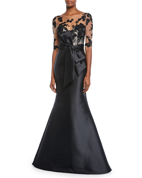 Badgley Mischka Collection Bateau-Neck Elbow-Sleeve Illusion Gown