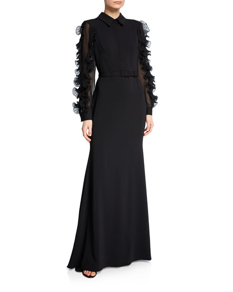 Collared Long-Sleeve Ruffle-Trim Shirtdress Gown