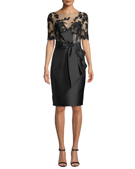Badgley Mischka Collection Bateau-Neck Elbow-Sleeve Embroidered