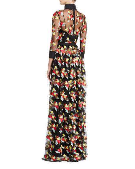 3/4-Sleeve Floral Embroidered Sheer Yoke Illusion Shirt Gown