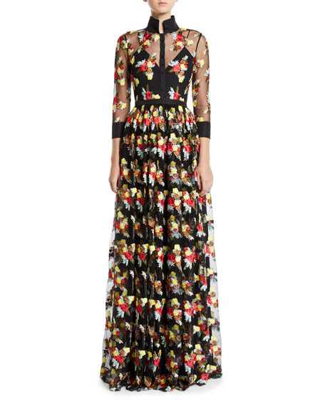 Badgley Mischka Collection 3/4-Sleeve Floral Embroidered Sheer