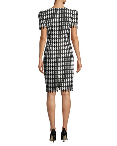 Checkered Short-Sleeve Knee-Length Sheath Dress