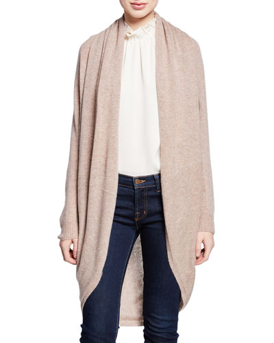 Curved-Hem Open-Front Long Cashmere Cardigan