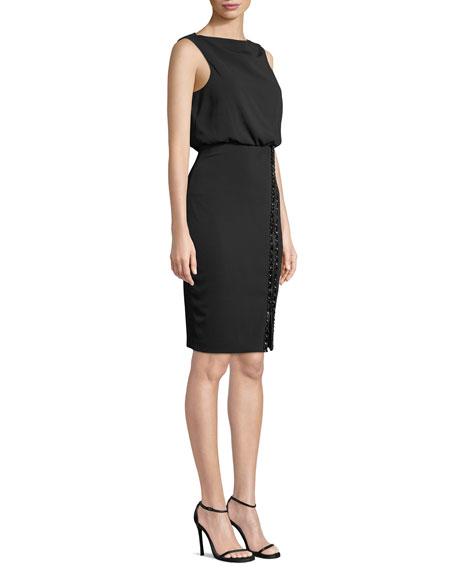 Bateau-Neck Sleeveless Blouson Dress w/ Embellished Skirt & Zip Hem