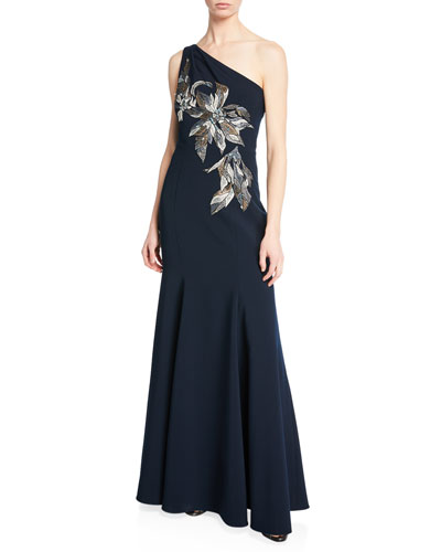 One-Shoulder Mermaid Gown w/ Beaded Embroidered Appliques