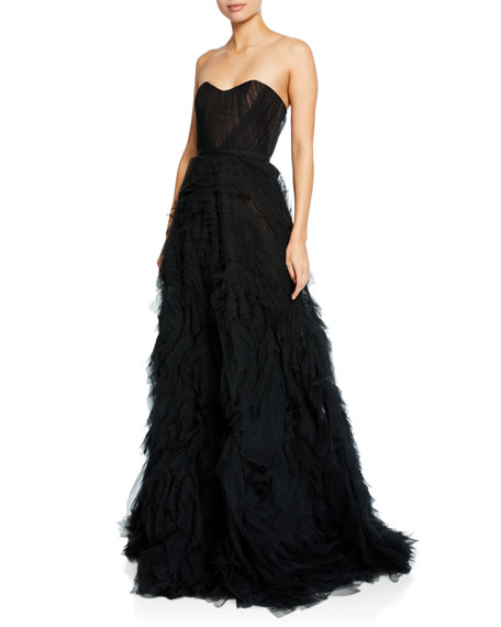 dbd42a96 Marchesa Notte Strapless Textured Tulle A-Line Gown w/ Corset Bodice