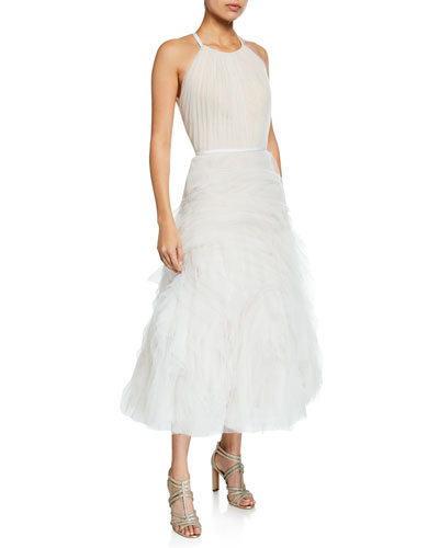 Halter-Neck Textured Tulle Draped Bodice Tea-Length Gown