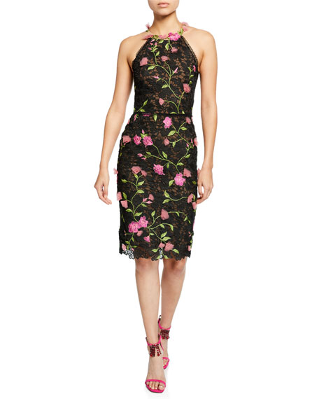 Halter Floral-Embroidered Guipure Lace Dress w/ Cutout Back & 3D Flowers